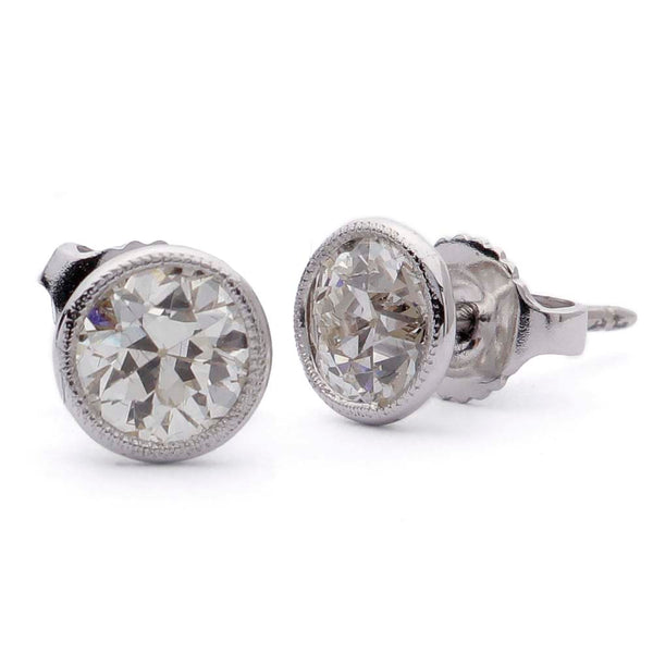 Old European Cut Diamond Stud Earrings #VER190710-7 - Leigh Jay & Co.