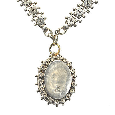 Antique Victorian Silver Locket with Chain. #VL0430-02 - Leigh Jay & Co.