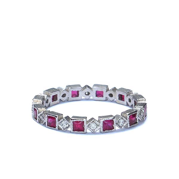 Contemporary Ruby and diamond eternity wedding band #VL2107 - Leigh Jay & Co.