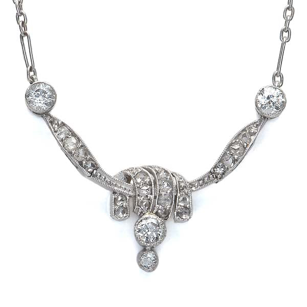 Art Deco Diamond Cascade Necklace #VN170210-01 - Leigh Jay & Co.