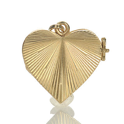 Mid Century Gold Heart Pendant Locket #VP0528-01 - Leigh Jay & Co.