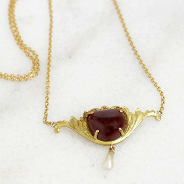 Garnet Art Nouveau Necklace #VP1108-01