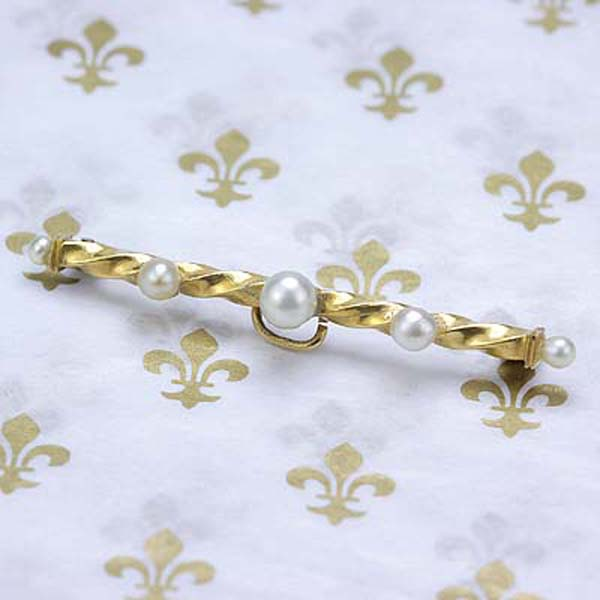 Antique Pearl Bar Pin. #VP1108a - Leigh Jay & Co.