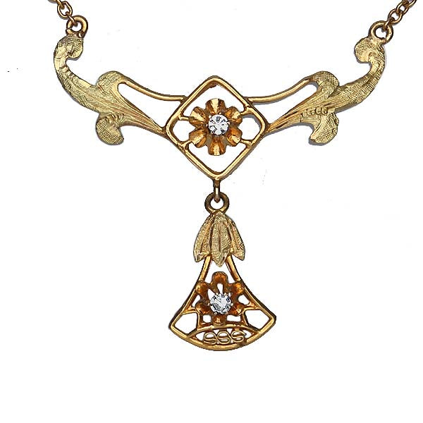 Antique Bloomed Gold Necklace #VP160526-01 - Leigh Jay & Co.