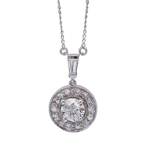 Halo Pendant with Old European cut Center #VP190315-2 - Leigh Jay & Co.