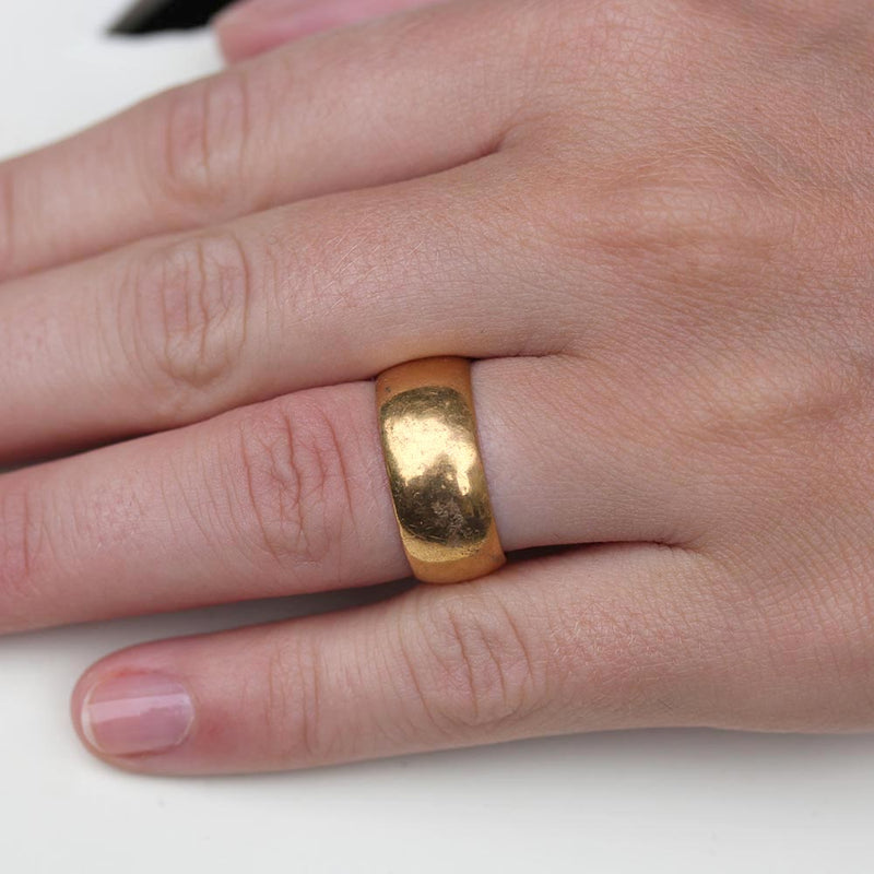 Antique Wide 18k Yellow gold wedding band #VR0109-05 - Leigh Jay & Co.