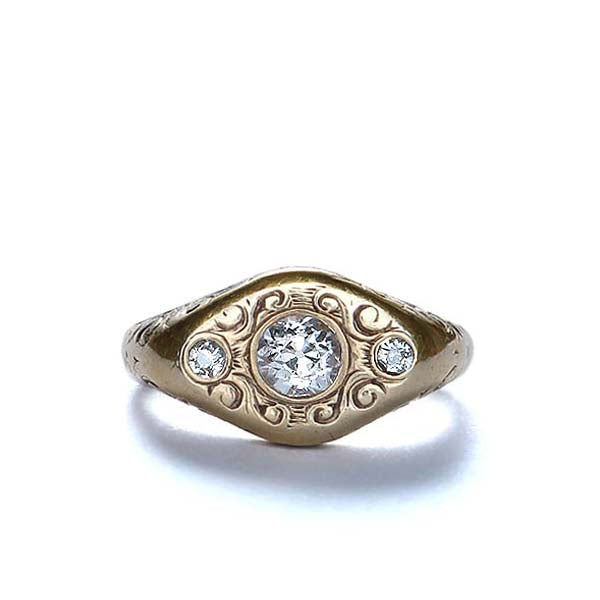 Beautiful Art Nouveau Gold and Diamond ring. #VR0121-03 - Leigh Jay & Co.
