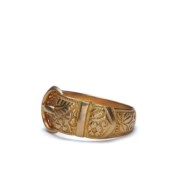 Circa 1908 18k yellow gold Buckle ring #VR0125-07 - Leigh Jay & Co.