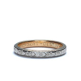 Antique Platinum and 14k yellow gold wedding band. #VR0219-07 - Leigh Jay & Co.
