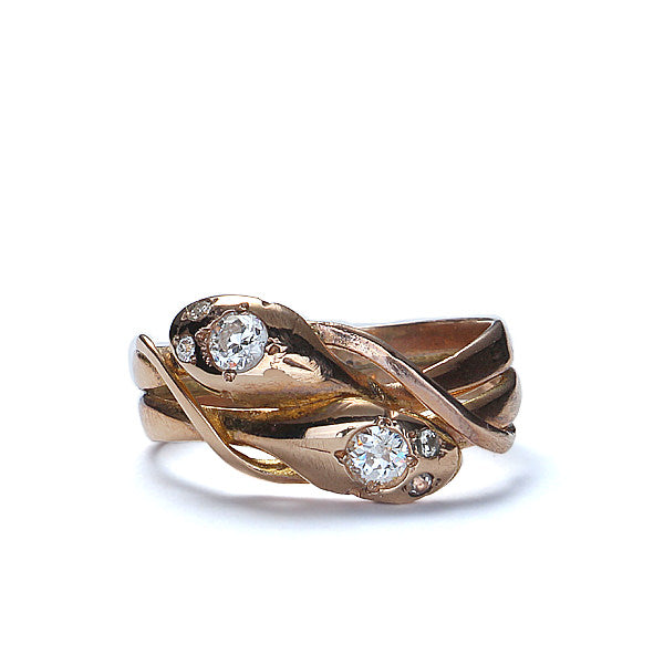 Early 20th Century  Double snake ring with diamonds #VR0410-02 - Leigh Jay & Co.
