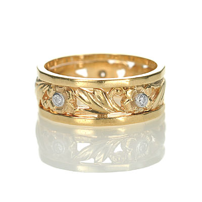 Mid Century Engraved Floral Wedding band #VR0414-02 - Leigh Jay & Co.