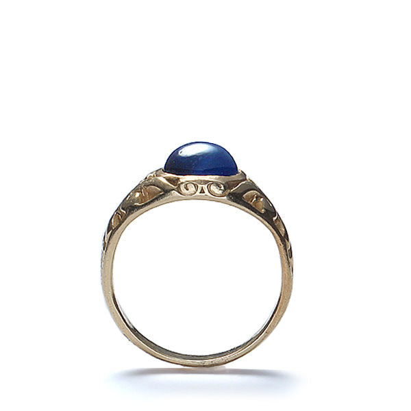 Art Nouveau Cabochon sapphire ring. #VR0414-04 - Leigh Jay & Co.