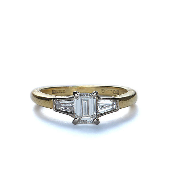Circa 1996 Emerald Cut Diamond ring.  English #VR0423-01 - Leigh Jay & Co.