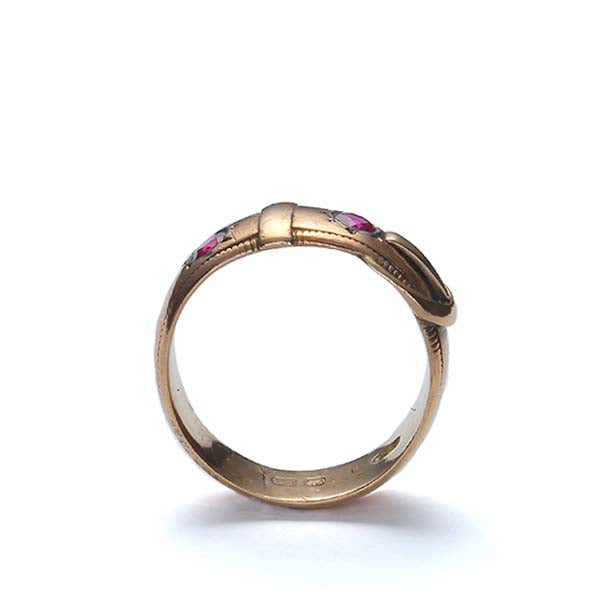 Vintage 14k  gold buckle ring with Synthetic rubies #VR0515-02 - Leigh Jay & Co.
