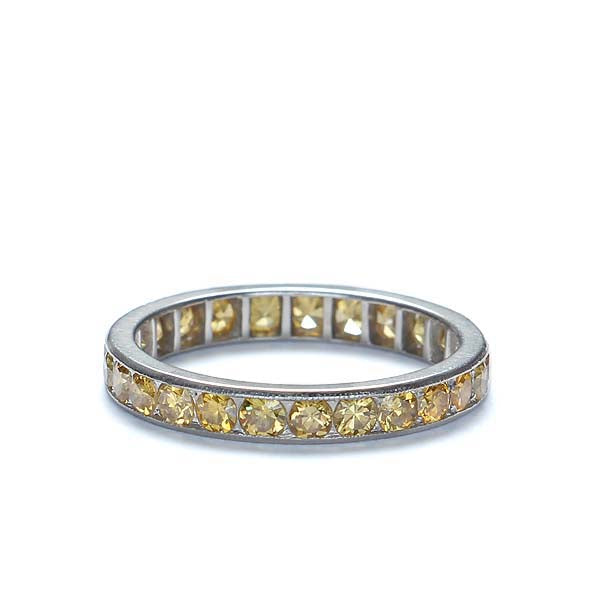 Deco Diamond Wedding band with Fancy Yellow diamonds #VR0716-06 - Leigh Jay & Co.
