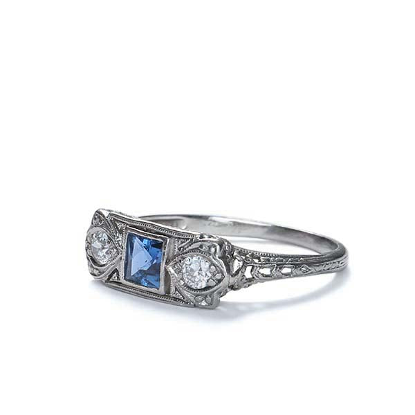 Circa 1920s sapphire and diamond ring #VR0719-02 - Leigh Jay & Co.