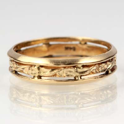 Mid-Century Floral Wedding band #VR102013-01 - Leigh Jay & Co.