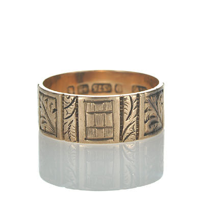 Antique Victorian wedding band in 9K gold. #VR1109b - Leigh Jay & Co.