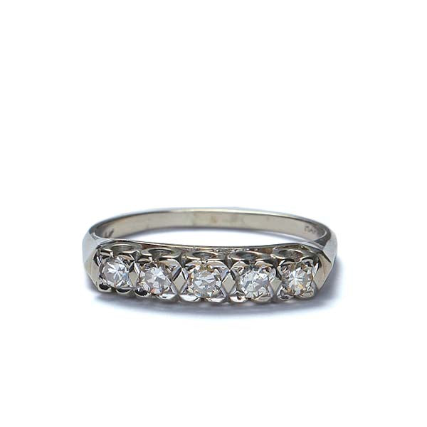 Circa 1940s Diamond wedding band #VR1212e - Leigh Jay & Co.