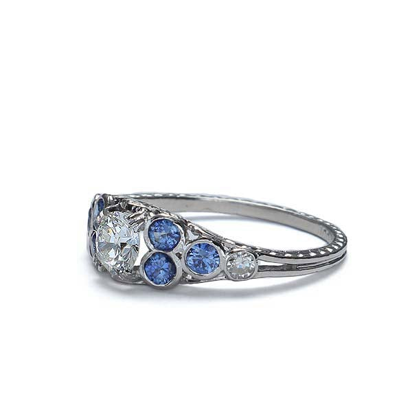 Gorgeous Montana Sapphire and Diamond engagement Ring #VR128-09 - Leigh Jay & Co.
