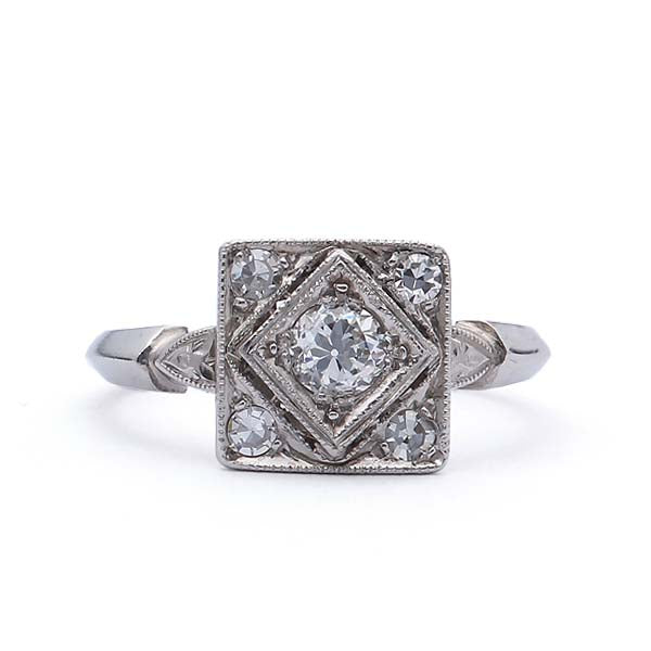 Circa 1950 Square top Diamond  Ring. #VR140528-05 - Leigh Jay & Co.