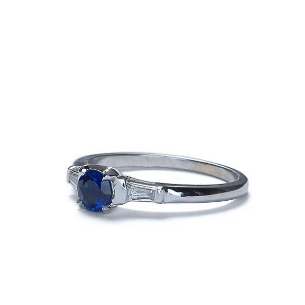 Contemporary Sapphire and Diamond engagement ring #VR140611-08 - Leigh Jay & Co.