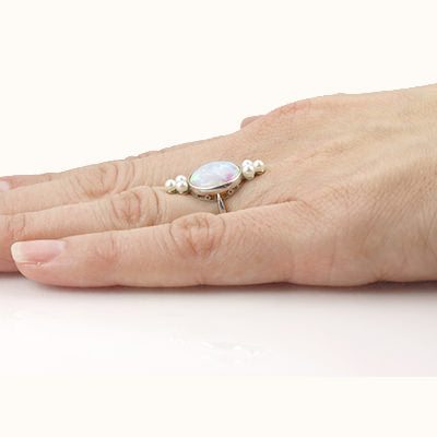 Edwardian Opal and Pearl Ring #VR141024-01 - Leigh Jay & Co.
