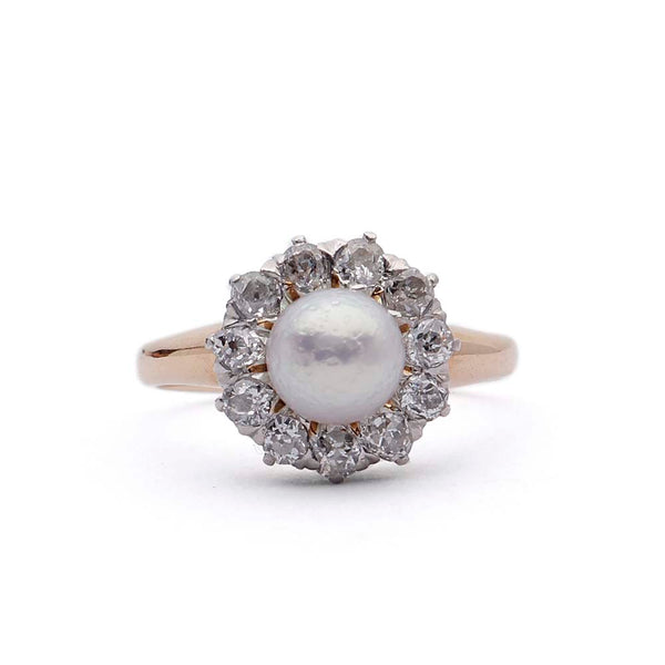 Belle Epoque Pearl and Diamond Ring. #VR141028-10 - Leigh Jay & Co.