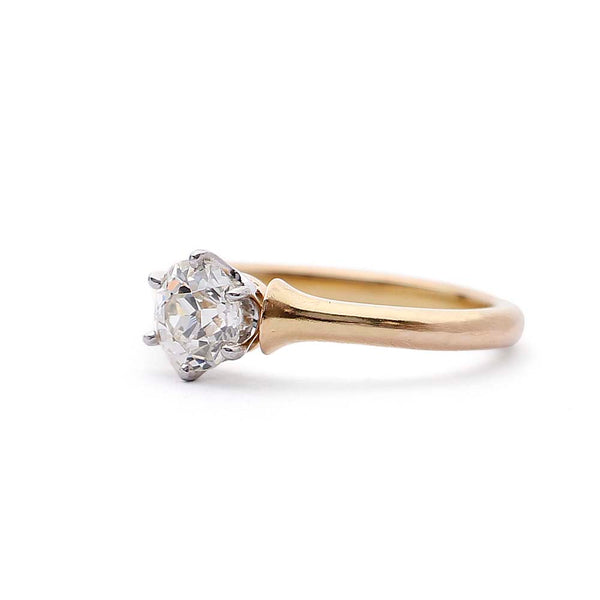Antique Diamond Solitaire Engagement ring #VR150105-03 - Leigh Jay & Co.