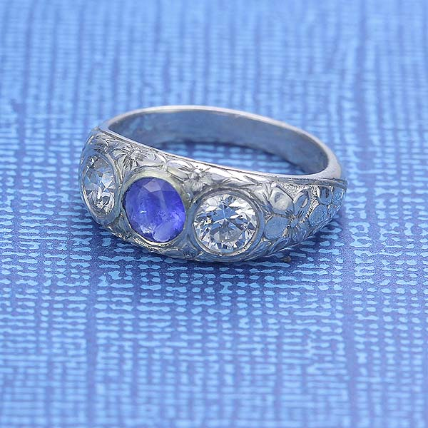 Art Nouveau Sapphire and Diamond Ring #VR150218-11a - Leigh Jay & Co.