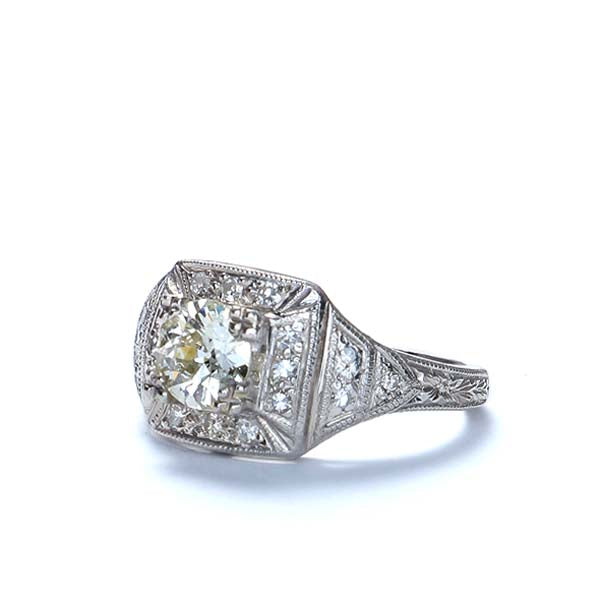 Art Deco Diamond Engagement Ring. #VR150604-05 - Leigh Jay & Co.