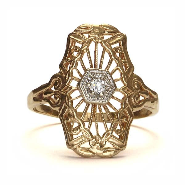 Early Art Deco Filigree diamond ring #VR151112-01 - Leigh Jay & Co.
