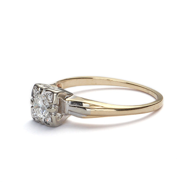 Circa 1940s Diamond Illusion Head Engagement Ring #VR160311-07 - Leigh Jay & Co.