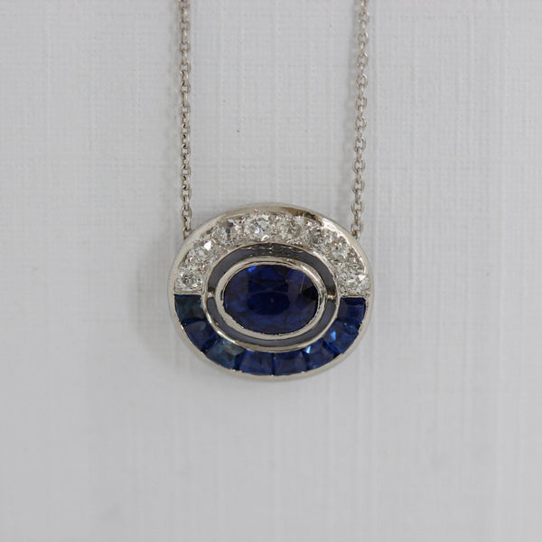 Edwardian Sapphire and Diamond Pendant #VP160505-07 - Leigh Jay & Co.