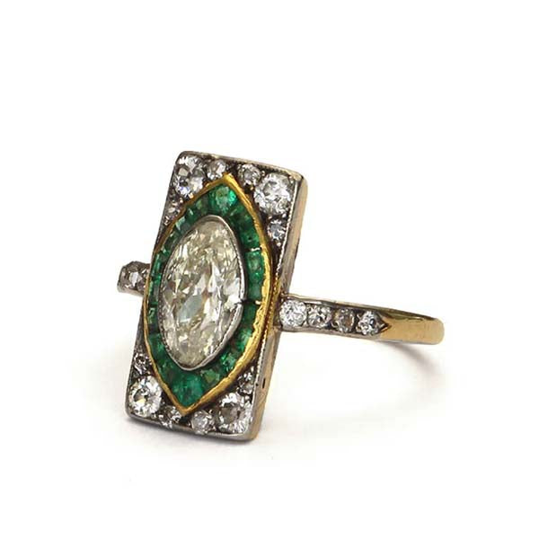 Edwardian Diamond and Emerald Ring #VR160505-17 - Leigh Jay & Co.