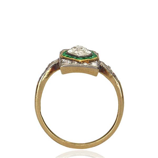 Edwardian Diamond and Emerald Ring #VR160505-17