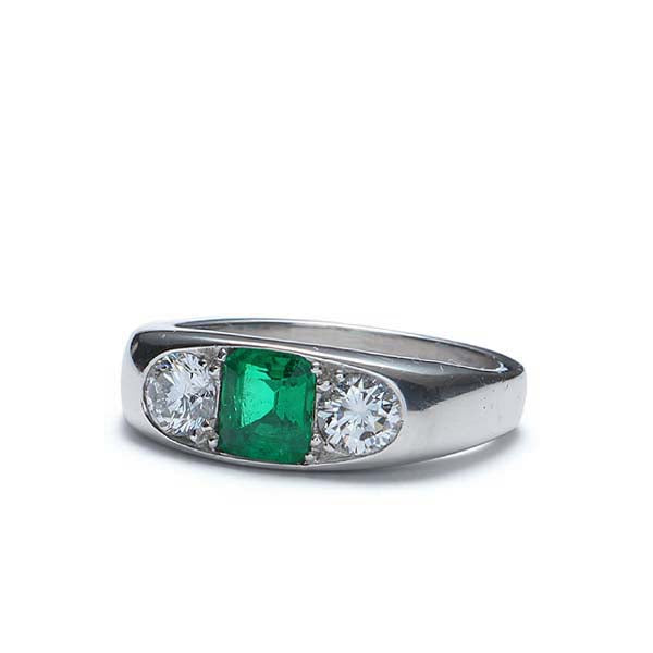 Contemporary Emerald and Diamond Ring #VR160505-23 - Leigh Jay & Co.