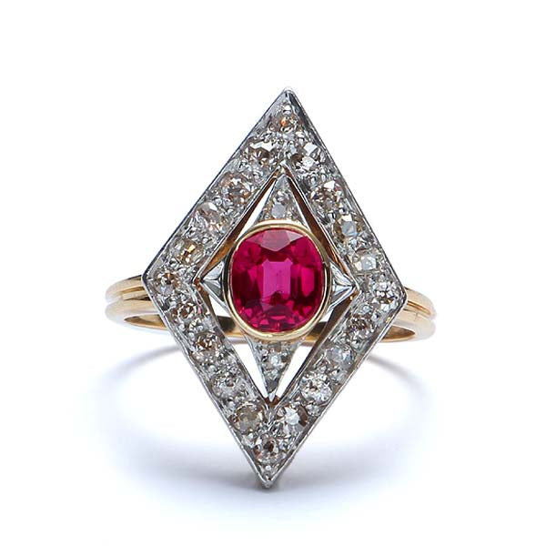 Art Deco Synthetic Ruby and diamond ring #VR160514-09 - Leigh Jay & Co.
