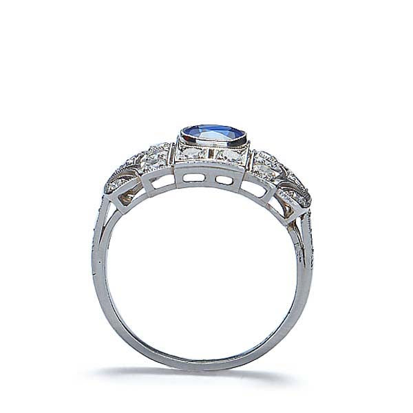 Art Deco Sapphire and Diamond Ring #VR160514-10 - Leigh Jay & Co.