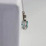 Edwardian Diamond and Blue Zircon Necklace #VN200715-1 - Leigh Jay & Co.