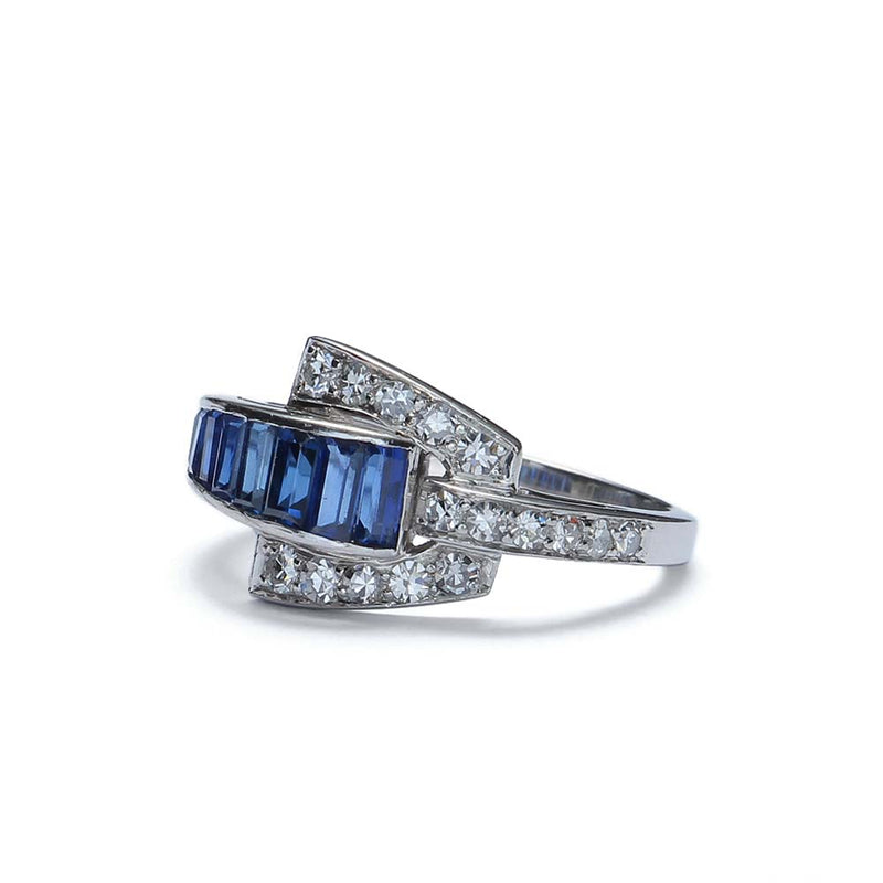 Gorgeous Retro Moderne Sapphire ring by J & L. Hartzberg. #VR160630-02 - Leigh Jay & Co.