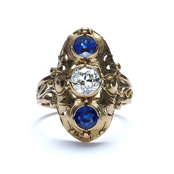 Arts-Crafts Diamond and Sapphire Ring. #VR160630-06 - Leigh Jay & Co.