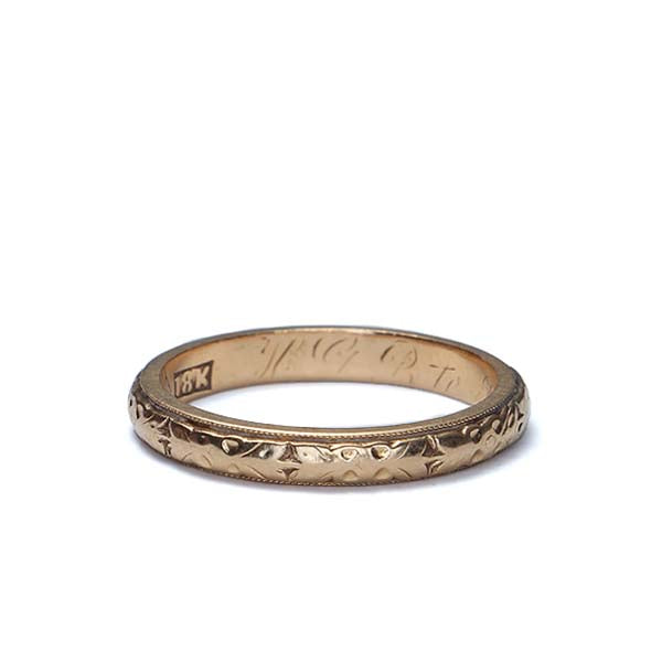 Antique Gold Wedding band #VR170119-03 - Leigh Jay & Co.