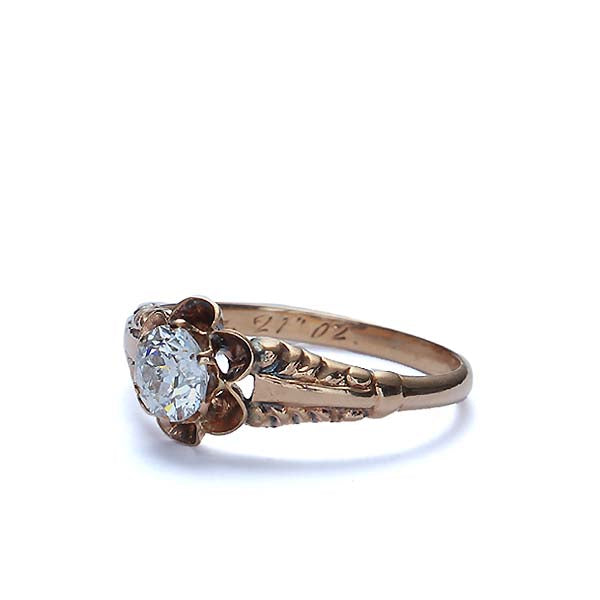 14k Yellow Gold Late Victorian Engagement Ring #VR170815-1 - Leigh Jay & Co.