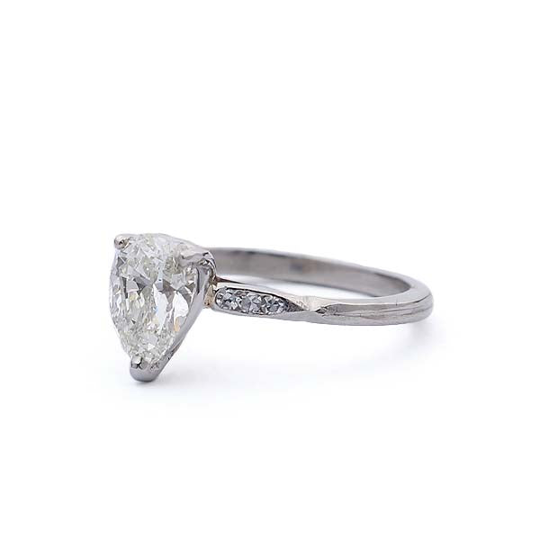 Midcentury Pear Shape Diamond Engagement Ring #VR180115-1 - Leigh Jay & Co.