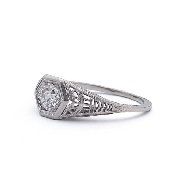 Art Deco Filligree Engagement Ring #VR180516-2