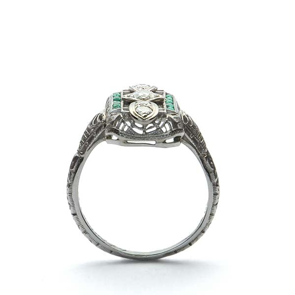 WG Ring with emeralds #VR180726-2 - Leigh Jay & Co.