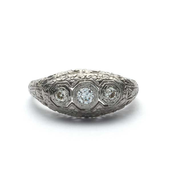 Art Deco Three Stone Ring #VR180730-9 - Leigh Jay & Co.