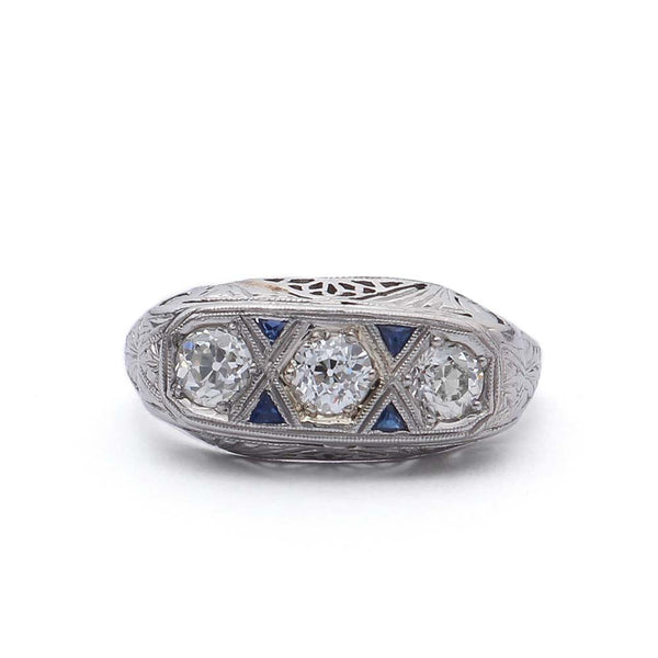 Art Deco Three Stone Ring #VR180816-3 - Leigh Jay & Co.