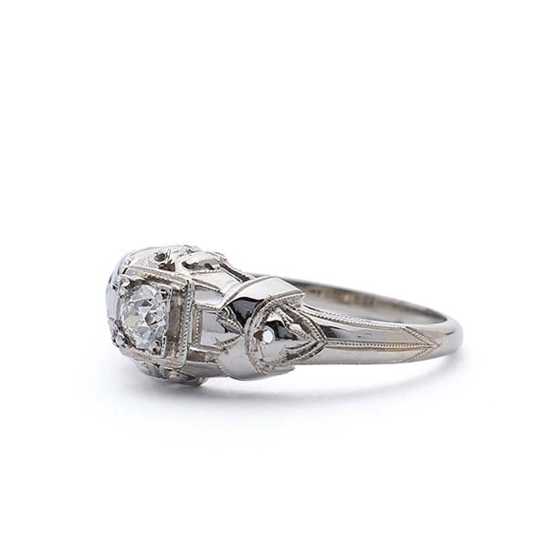 1930s filigree Engagement Ring #VR180920-4 - Leigh Jay & Co.
